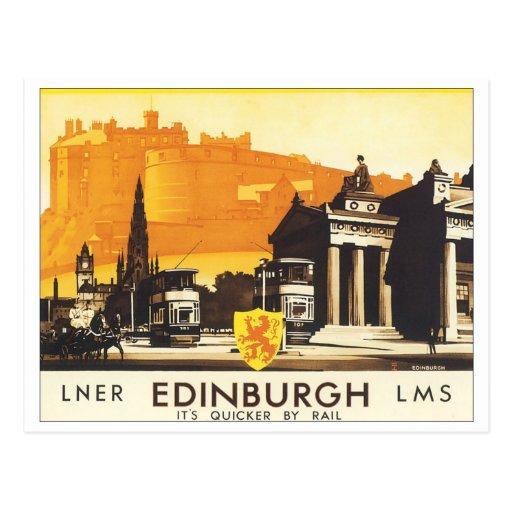 Edinburgh Vintage Travel Poster Post Cards