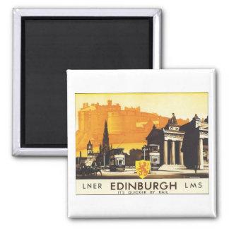 Edinburgh Vintage Travel Poster Square Magnet