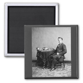 Edison and His Phonograph 1887 Square Magnet