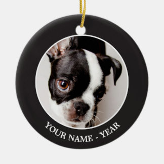 Edison Boston Terrier puppy. Round Ceramic Decoration
