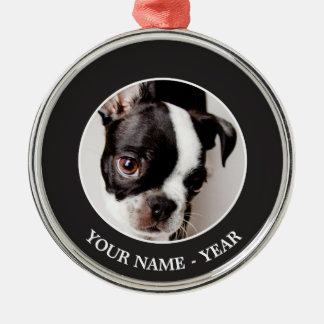 Edison Boston Terrier puppy. Silver-Colored Round Decoration