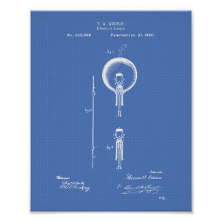 Edison Electric lamp 1880 Patent Art - Blueprint Poster