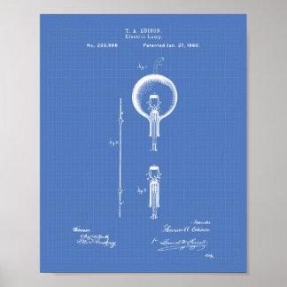 Edison Electric lamp 1880 Patent Art - Blueprint Poster