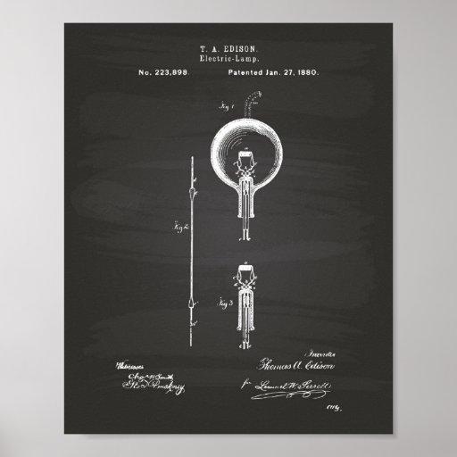 Edison Electric lamp 1880 Patent Art - Chalkboard