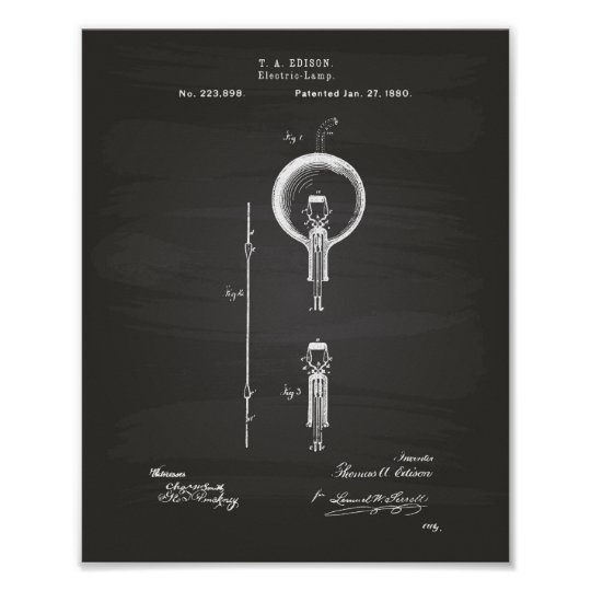 Edison Electric lamp 1880 Patent Art - Chalkboard