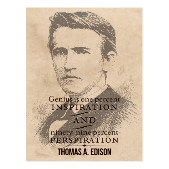 Edison on Genius Motivational/Inspirational Quote Postcard