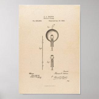 Edison Patent Light Bulb Poster