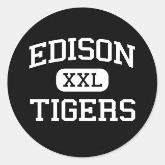 Edison - Tigers - High School - Fresno California Round Stickers