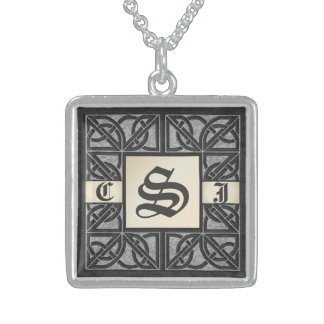 "Editable 3 initial ""Silver Stone"" Monogram Necklac Square Pendant Necklace"