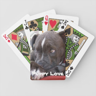 Editable Baby Pitbull Puppy Bicycle Playing Cards