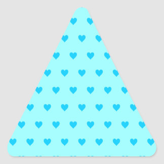 Editable Background Color - Blue Heart Pattern Triangle Stickers