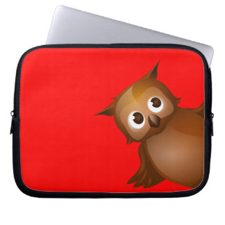 Editable Background Color - Cute Brown Owl Laptop Sleeve
