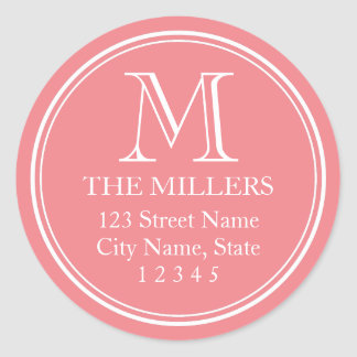 Editable Background Color Name Monogram Address Classic Round Sticker