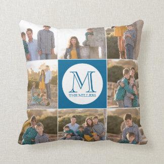 Editable Background Color Round Monogram Photo Cushion