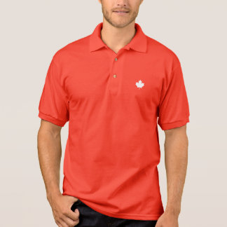 Editable Background Color, White Canada Maple Leaf Polo Shirt
