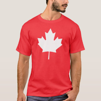 Editable Background Color, White Canada Maple Leaf T-Shirt