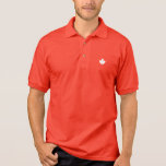 Editable Background Colour, White Canada Maple Polo Shirt