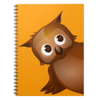 Editable Background - Cute Brown Owl Notebook