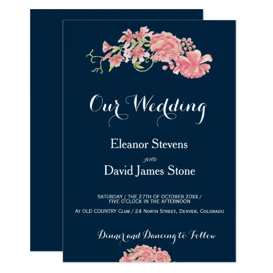 Editable background floral blush peonies wedding card