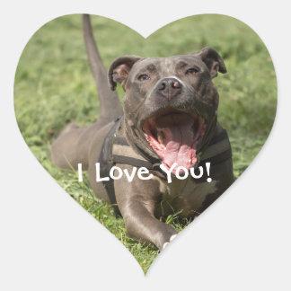 Editable Brown Pitbull In Grass Heart Sticker