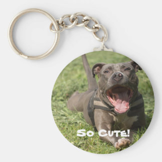 Editable Brown Pitbull In Grass Key Ring