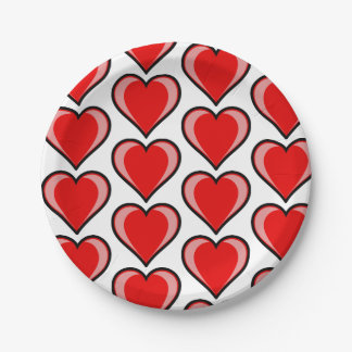 Editable Chic Red and Pink Heart Paper Plate