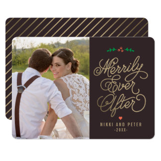 EDITABLE Color Merrily Ever After Holiday Card