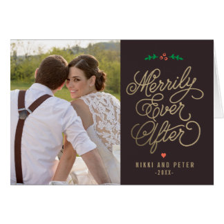 EDITABLE COLOR Merrily Ever After Holiday Cards