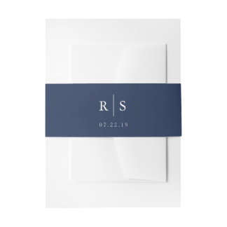 Editable Color Monogram Wedding Invitation Belly Band