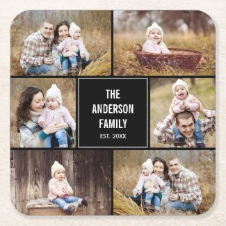 Editable Colour Square Photo Collage Coasters