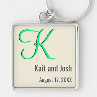 Editable Couples Monogram Trendy Minimalist Ivory Silver-Colored Square Key Ring