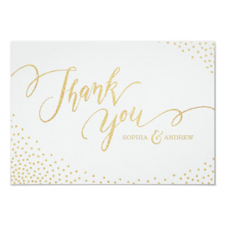 Editable faux gold glitter calligraphy thank you card