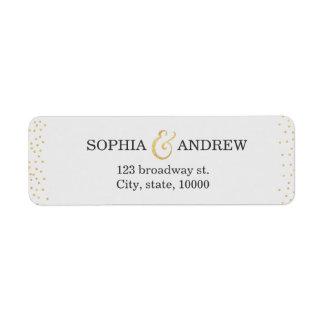 Editable faux gold glitter confetti return address