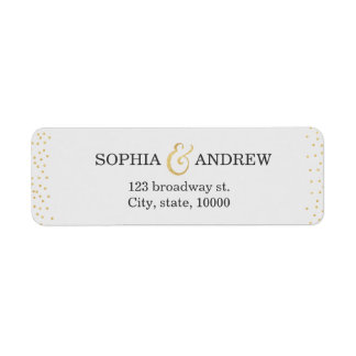 Editable faux gold glitter confetti return address return address label