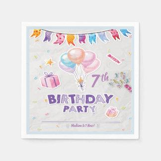 Editable Festive Kid's Birthday Party Napkins Paper Serviettes