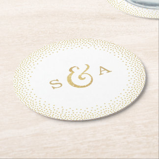 Editable glam faux gold glitter wedding monogram round paper coaster