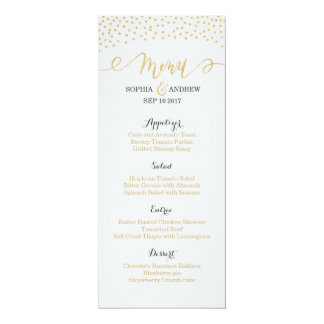 Editable Glam gold glitter vintage wedding menu 10 Cm X 24 Cm Invitation Card