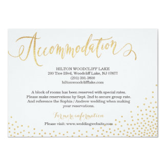 Editable gold glitter calligraphy accommodation card