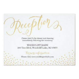 Editable gold glitter calligraphy reception card