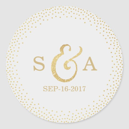 Editable gold glitter vintage wedding monogram classic round