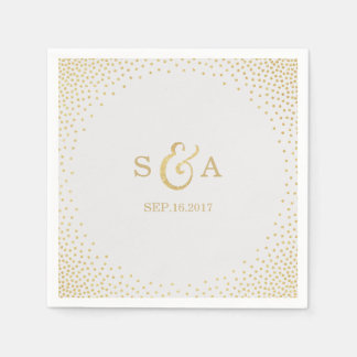 Editable gold glitter vintage wedding monogram disposable napkin