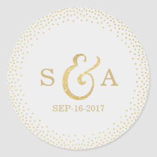 Editable gold glitter vintage wedding monogram round sticker
