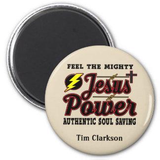 Editable Jesus Power Round Magnet