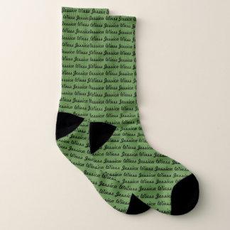 Editable Name Green Socks
