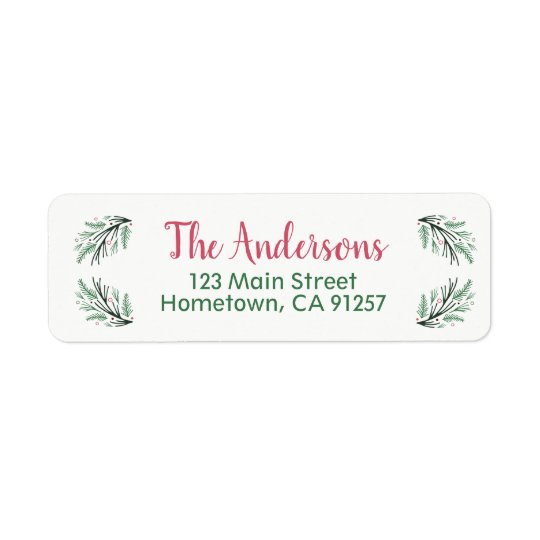 EDITABLE Pine Bough Return Address Labels
