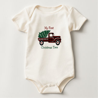 EDITABLE Red and Green Plaid Christmast Tree Truck Baby Bodysuit