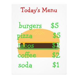 Editable simple burger themed menu 21.5 cm x 28 cm flyer