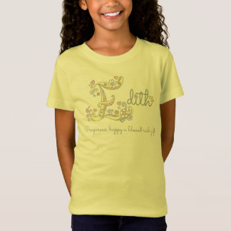 Edith girls name meaning E monogram hearts T-Shirt