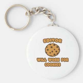 Editor .. Will Work for Cookies Basic Round Button Key Ring