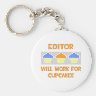 Editor ... Will Work For Cupcakes Basic Round Button Key Ring